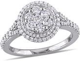 Julie Leah 1 CT TW Diamond 14K White Gold Cluster Style Double Halo Engagement Ring