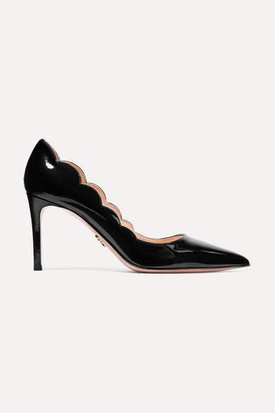 Prada Scalloped Patent-leather Pumps - Black