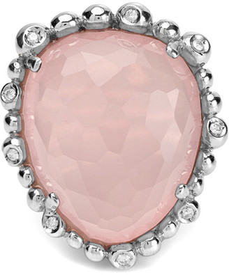 Michael Aram Molten Silver 0.11 Ct. Tw. Diamond & Rose Quartz Ring