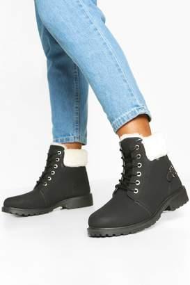 boohoo Faux Fur Cuff Lace Up Hiker Boots