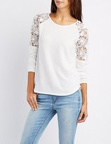 Charlotte Russe Crochet-Trim Pullover Sweater