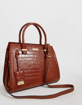Carvela Holly croc zip bag in tan