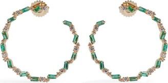 Suzanne Kalan Yellow Gold, Emerald and Diamond Fireworks Hoop Earrings