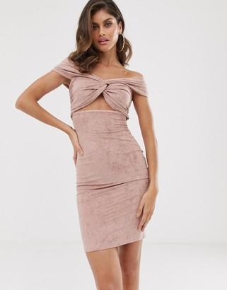 Bardot The Girlcode suedette twist knot dress in blush-Pink