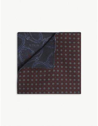 Eton Reversible paisley-print wool pocket square
