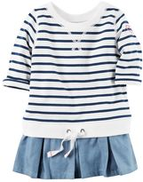 Carter's Toddler Girl French Terry Striped Chambray Peplum Pullover