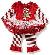 Rare Editions Baby Girls 3-9 Months Christmas Candy Cane Dress and Striped Leggings Set