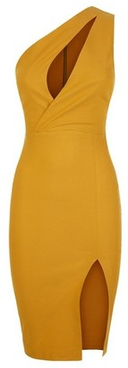 Dorothy Perkins Womens Vesper Yellow One Shoulder Bodycon Dress, Yellow