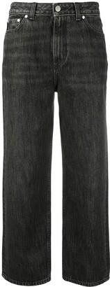 Ganni High-Rise Stonewashed Wide-Leg Jeans