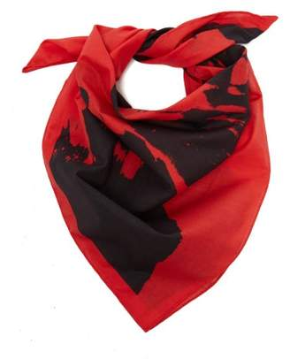 Calvin Klein Stephen Sprouse-print Cotton Bandana Scarf - Womens - Red