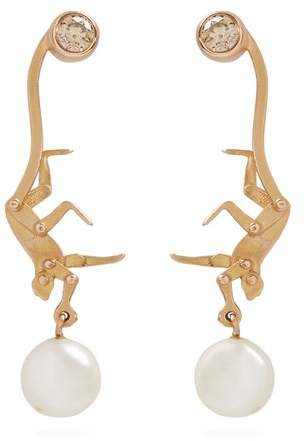 Marc Alary Diamond, pearl & pink-gold earrings