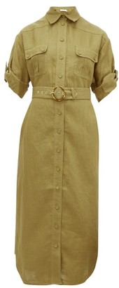 Zimmermann Super Eight Belted Linen Midi Dress - Khaki