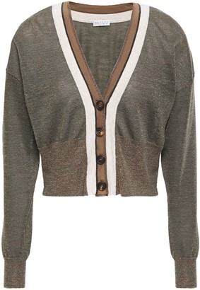 Brunello Cucinelli Bead-embellished Striped Metallic Knitted Cardigan