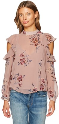 ASTR the Label Women's Chantelle Cold Shoulder Floral Print Woven Top