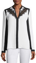 Elie Tahari Denise Lace-Trimmed Colorblocked Blouse
