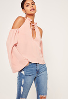 Missguided Frill Detail Tie Front Cold Shoulder Top Pink