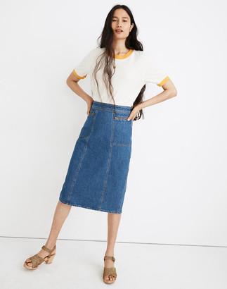Madewell Stretch Denim Midi Pencil Skirt
