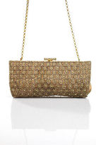 Inge Christopher Beige Snap Closure 2 Pocket Beaded Detail Clutch Size Small