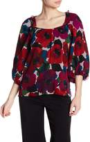 Nanette Lepore Bouquet Silk Ruffle Printed Blouse