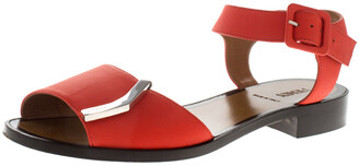 Fendi Orange Leather Ankle Strap Flat Sandals Size 36