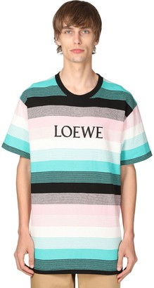 Loewe Logo Striped Knit Cotton T-shirt