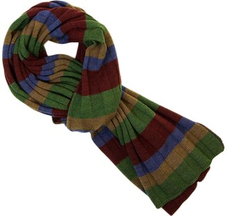 40 Colori Burgundy Multi Striped Wool Scarf