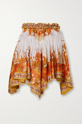 Zimmermann Brightside Asymmetric Printed Silk-twill Mini Skirt - Orange