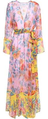 Leone We Are Belted Floral-print Silk-georgette Robe