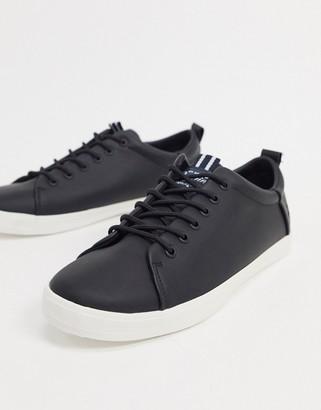 Original Penguin minimal lace up sneakers in black