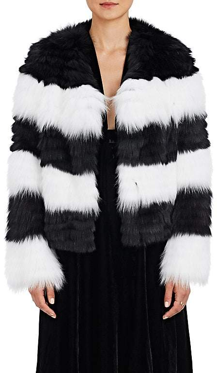 Barneys New York Women's Striped Fox-Fur Jacket