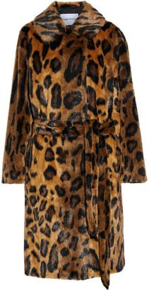 Stand Studio Irina Belted Leopard-print Faux Fur Coat