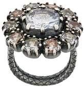 Bottega Veneta multicolour cubic zirconia oxidized silver necklace