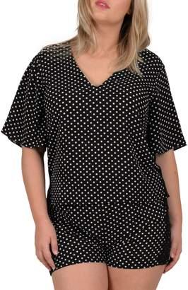 Gabrielle Plus Polka Dot Short Sleeve V-Neck Blouse