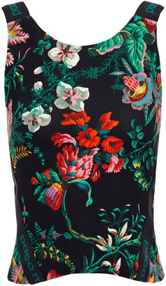 Paco Rabanne Monogram-trimmed Floral-print Stretch-jersey Top
