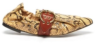 Chloé Python-effect Fringed Leather Ballet Flats - Womens - Yellow Multi
