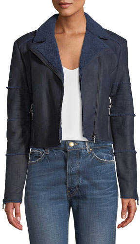 J Brand Aiah Cropped Leather Shearling Moto Jacket