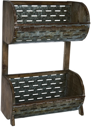 Transpac Wood Gray Spring Perforated Plant Stand