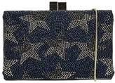Lola Cruz Black Pvc Pochette With Blue And Silver Star Rhinestone