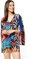 New York & Co. V-Neck Open-Sleeve Romper - Palm Print