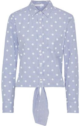 Stateside Tie-back Printed Cotton-poplin Shirt