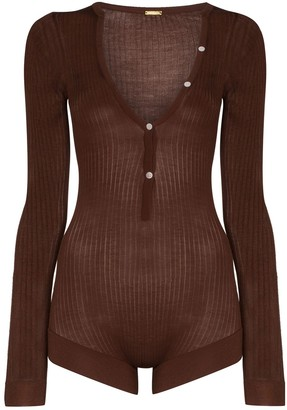 Dodo Bar Or V-Neck Buttoned Bodysuit