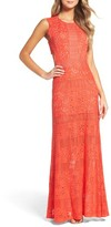 BCBGMAXAZRIA Women's Merida Open Back Lace Gown