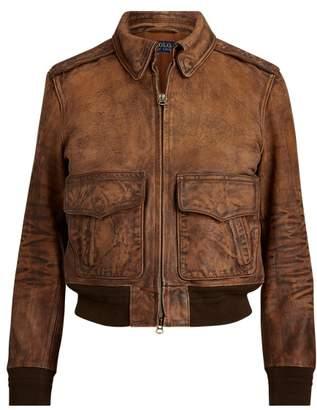 Ralph Lauren Painted Leather Bomber Jacket