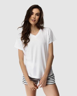 Deshabille Women's Black Pyjamas - Santa Monica Shorts & Tee Set - Size One Size, L at The Iconic