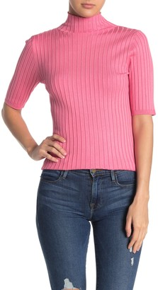 525 America Mock Neck Ribbed Knit Sweater