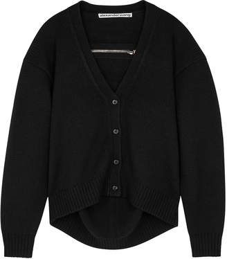 Alexander Wang Black Zip-embellished Wool Cardigan