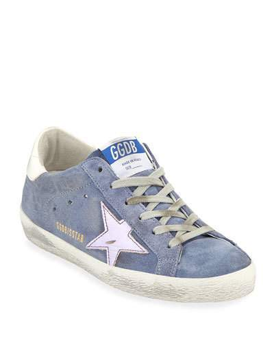 Golden Goose Superstar Suede Platform Low-Top Sneaker with Leather Star