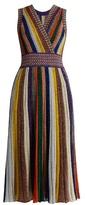 Missoni V-neck Striped Pleated Knit Dress