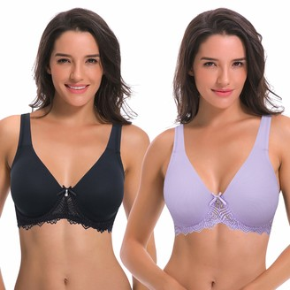 Curve Muse Women's Unlined Underwire Lace Bra with Padded Shoulder Straps-2PK-BLACK MAUVE-44D (EU:100D)