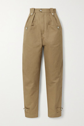 Etoile Isabel Marant Pulcie Suede-trimmed Cotton-canvas Tapered Pants - Light brown